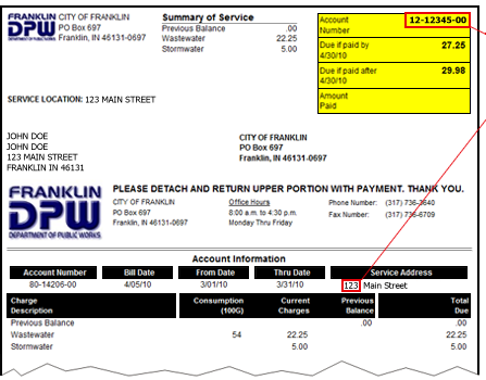Utility Bill Payment / City of Franklin, Indiana